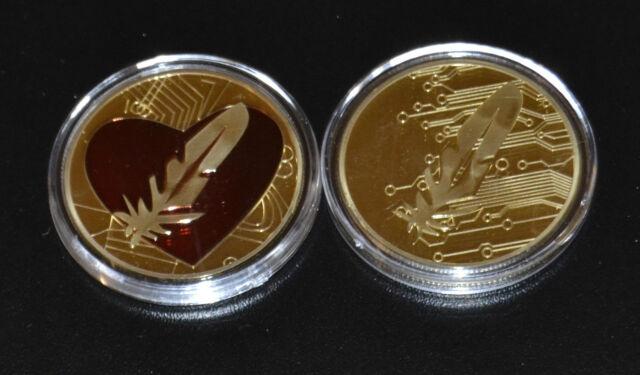1 Unze vergoldete Goldmedaille rotes Herz mit Feder Geschenk Goldauflage