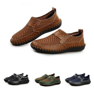 Men's Driving Slip on Loafers Leather Stylish Shoes Breathable Mesh Casual Shoes