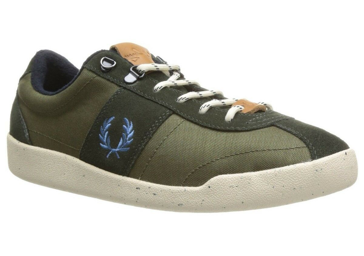 Fred Perry Nylon/Suede Men's Trainers Shoes in Hunting Green B6207