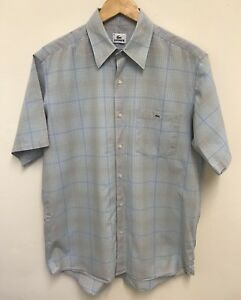 1fcf87e4dca3e Lacoste Mens Pale Blue Check Short Sleeve Shirt Cotton Size 41 UK XL ...