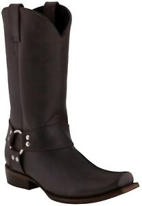 Mens Zu Smooth Details Harness Brown Biker Rider Plain Boots Style Leather 8kwXN0POn