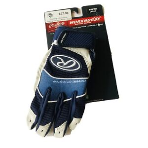 RAWLINGS WORK HORSE BATTING GLOVE SIZE YOUTH L Large COLOR NAVY BLUE & WHITE