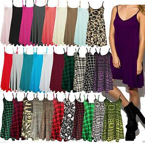 Damen-Langes-Mieder-Einfarbig-Riemchen-Schaukel-Kleid-Weste-Top-Ausgestellt