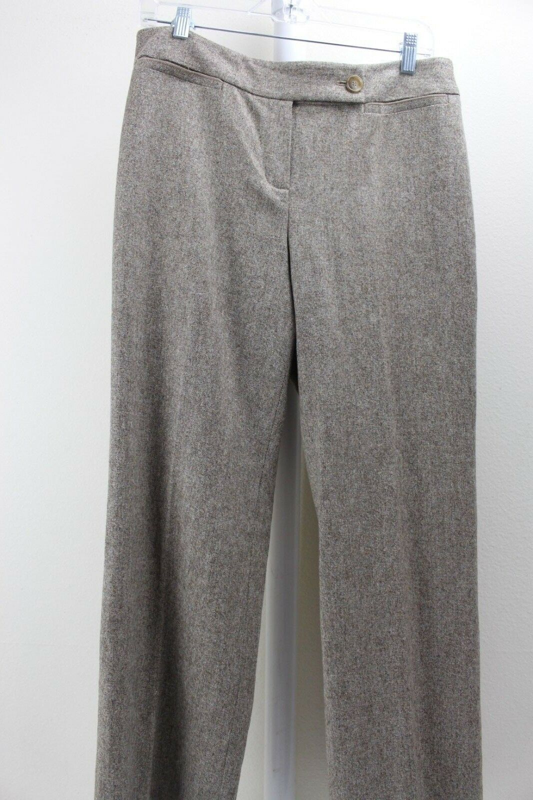 Ann Taylor Virgin Wool Blend Beige & Brown W Rust Specs Lined Dress Pants 12P