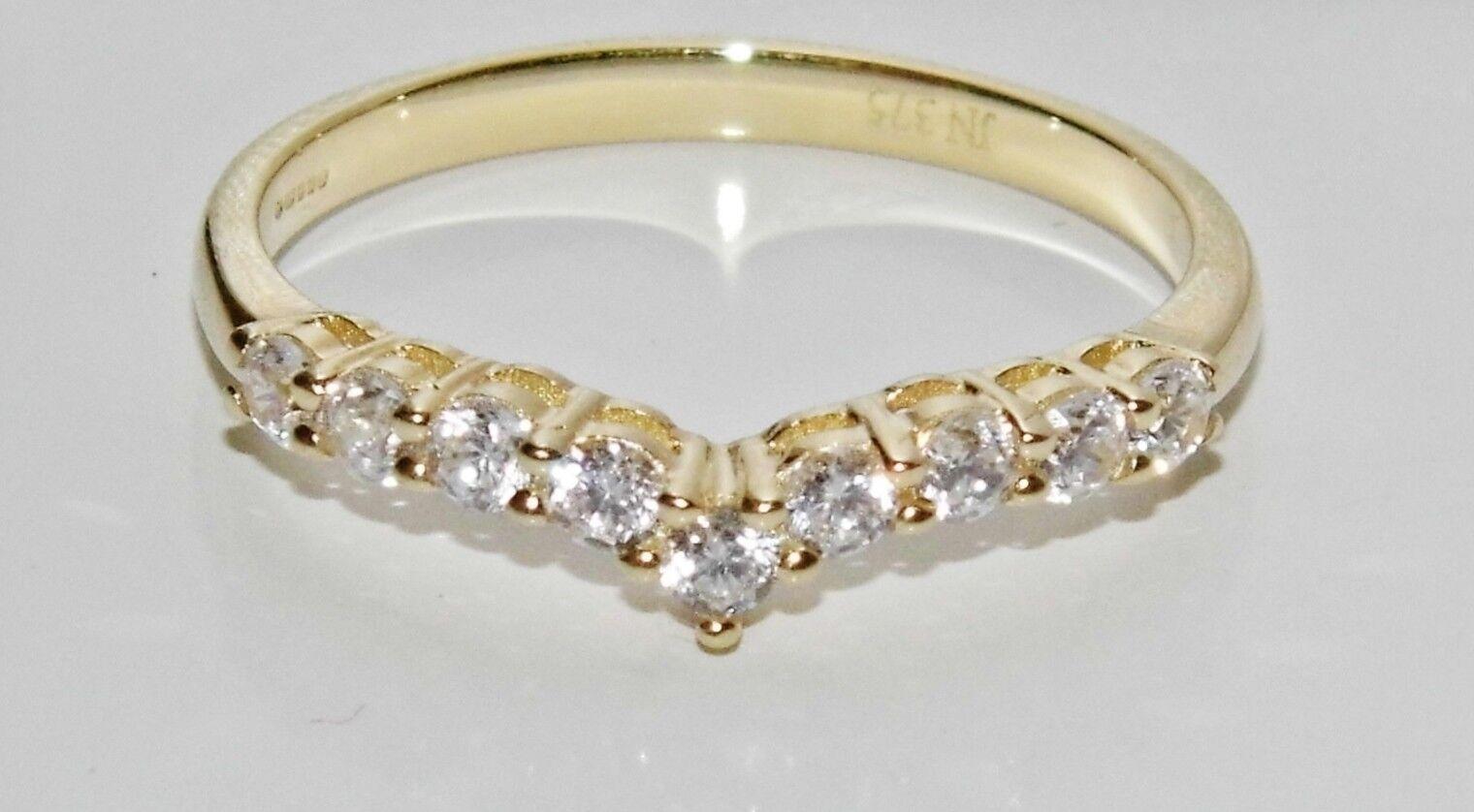 9ct Yellow gold 0.25ct Wishbone Eternity   Wedding Ring size P - UK Hallmarked
