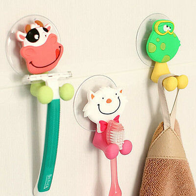 Cute Animal Silicone Toothbrush Holder Family Set Wall Bathroom Hanger Suction