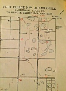 Details about Authentic 1950 Fort Pierce NW Quadrant Florida Topographic Map