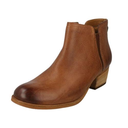 Mujer Clarks Ramio Piel Botines Bajo Zapatos Cremallera Chelsea Maypearl Tacón drarx7