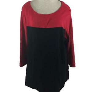 Kim Rogers knit top size 1X red black 3/4 sleeve cotton