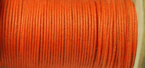0,20€//m Wachsschnur Baumwolle gewachst 1mm orange 5m *BACATUS*