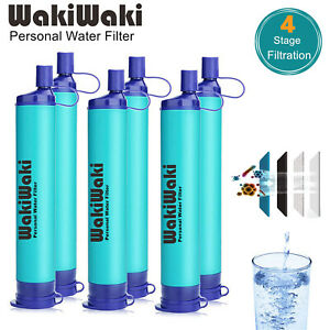 6 Pack Survival Water Filter Straw Drinking Purifier Camping Hiking Emergency
