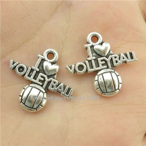 15682*30PCS Argent Vintage Alliage i Love volleyball mots pendentif charme antique