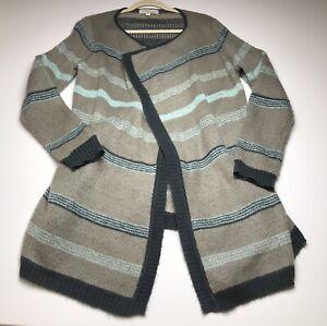 Olive-amp-Oak-Women-s-Open-Front-Cardigan-1X-Gray-Blue-Stripes-Casual-Aztec
