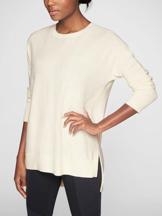 ATHLETA Wool Cashmere Stargazer Sweater, NWT, Large, Dove, MSRP