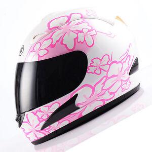 NEW-DOT-Adult-Motorcycle-Full-Face-Helmet-White-Women-Pink-Flower-Size-S-M-L-XL