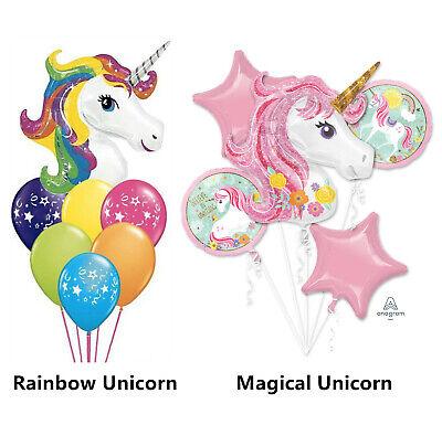"""Unicorn Magical 5 PC  Balloon Bouquet Foil  Supershape 33/"""" Unicorn Pink~Anagram"""