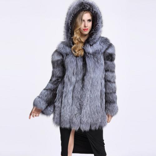 Ladies Snow Real Fox Fur Hooded Knee Length Outwear Womens Winter Coats Lady  sz