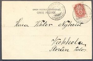RUSSIA FINLAND: 1902 Postcard w/View of Jakobstad to Stockholm