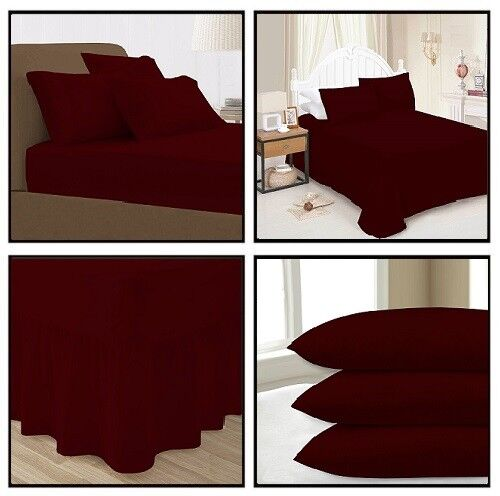 Wine Plain Dyed Fitted Flat Valance Bed Sheets Single Double King Pillow Case