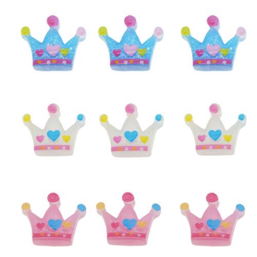 12pcs Assorted Resin Royal Princess Crown Flatback Cabs DIY Decor Accessories