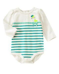 NWT~Gymboree TINY TEAL birdie striped long sleeved bodysuit top~18-24