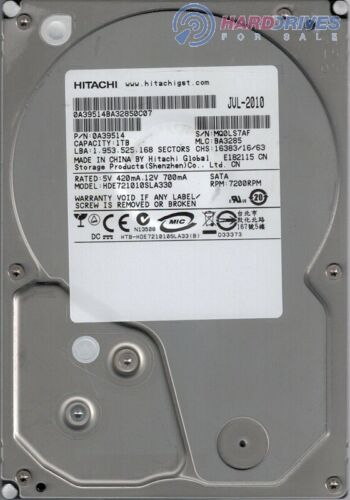 Hitachi Hard Drive 1TB Cache 7200RPM Heavy Duty SATA 3.0Gbps 3.5
