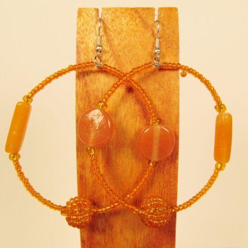 """2/"""" Round Orange Mixed Bead Handmade Single Hoop Seed Bead Hook Earrings"""