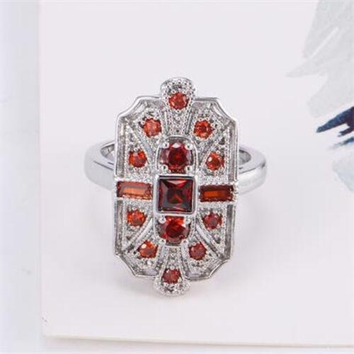 Fashion Silver rouge zircon CZ cubique Art Deco Cocktail Statement Anneau Taille 6-10