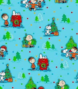 image is loading peanuts snoopy christmas scenic print 100 cotton fabric - Snoopy Christmas