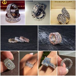 925-Silver-Rings-Women-White-Sapphire-Wedding-Engagement-Ring-Size-5-12