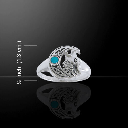 Loup Hurlant Crescent Moon .925 Sterling Silver Ring par Peter Stone bijoux