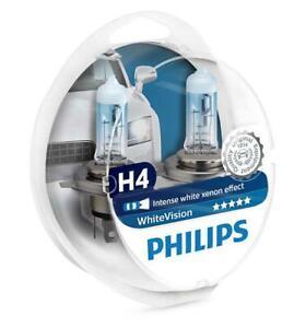 2x-H4-PHILIPS-WhiteVision-12V-60-55W-12342WHVSM-P43t-38-Headlight-Bulbs-Twin