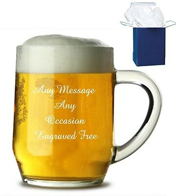 dad gifts, Best Man gifts Personalised Engraved Lead Crystal 1pt Tankard