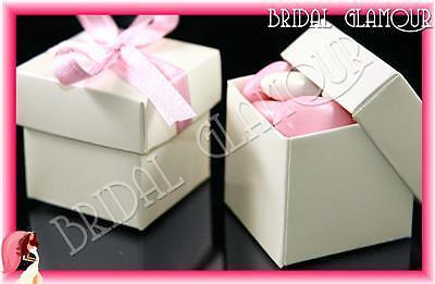 100 x IVORY 2pc 5x5cm Bomboniere Box - Wedding Favour Bonbonniere Gift Boxes