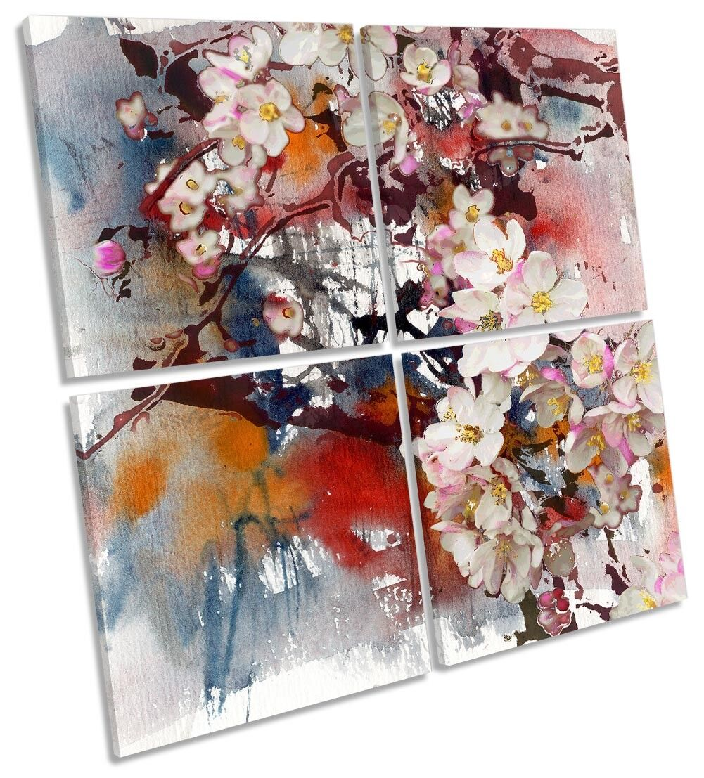 Floral Grunge Blossom Flowers MULTI CANVAS WALL ARTWORK Square Art
