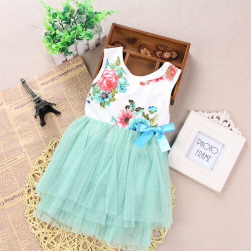Princess Kids Girl Dress Lace Flower Party Gown Pageant Dresses Tulle Tutu Dress