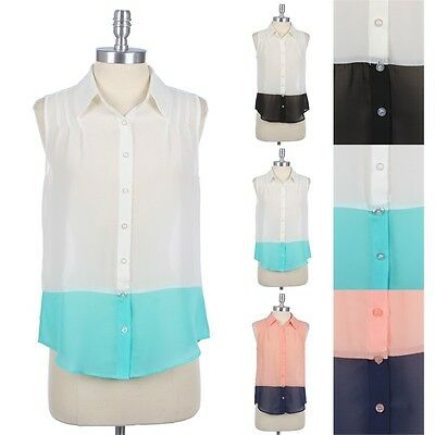 Two Tone Sheer Button Down Sleeveless Ruched Shirt Chic Stylish Top Comfy Cute