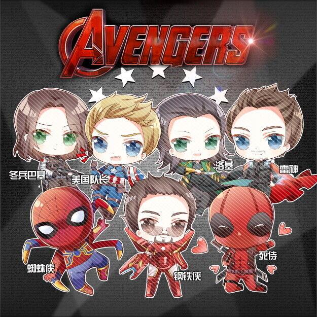 Marvel The Avengers Thor Loki Spider-Man Acrylic keychain Keyring 2-Side N
