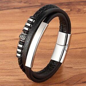 Bracelet pour homme femme en acier inoxydable et cuir noir 19//21 cm
