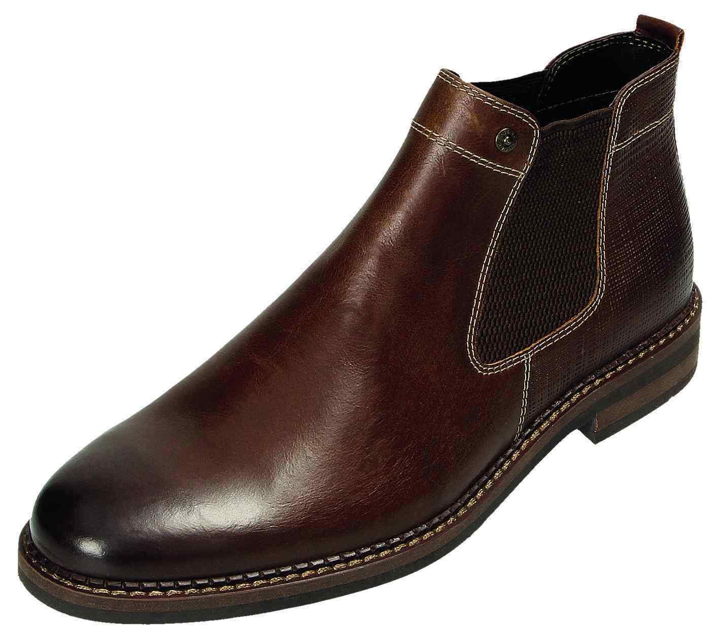 Klondike chelsea botas botines de cuero zapatos mh-236h38 marrón neu31