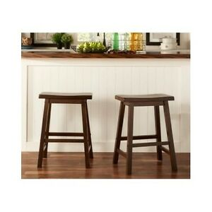 Enjoyable Details About Counter Height Stools Bar Kitchen Set Of 2 Distressed Backless Wood 24 Inches Machost Co Dining Chair Design Ideas Machostcouk