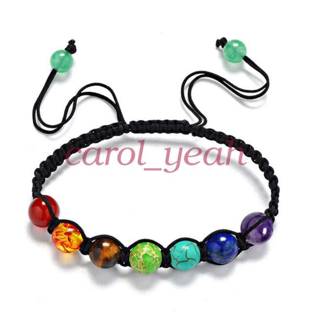 Women Nature Stone Bracelets Crystal Yoga 7 Chakras Healing Balance Beads Gift