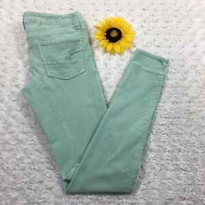 American-Eagle-Womens-Corduroy-Jegging-Jeans-Size-0-Stretch-Mint-Green-hr642