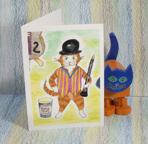 """/""""Mungo Jerrycan/"""" #PeterBrighouseIllustrator #saxophone #jazz #cats Card"""