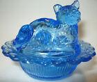 2PC Clear Blue glass Cat kitten on nest basket salt cellar dip kitty Easter aqua