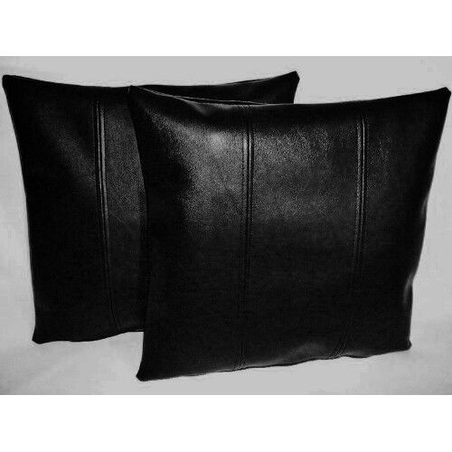 Black real leather genuine sheep NAPPA LEATHER PILLOW CASES 50*75cm Pair