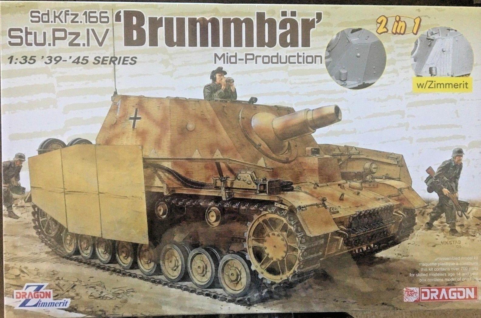 1 35 German Stu.Pz. IV BRUMMBÄR Brummbar w  Zimmerit 2-in-1  NEW Dragon