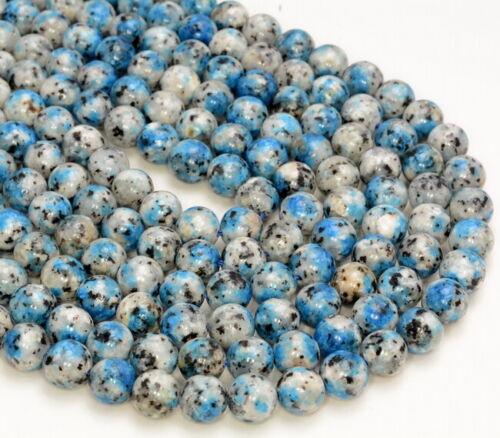 8MM K2 Blue Granite Gemstone Grd AAA Round 15 Inch 80007326-A254