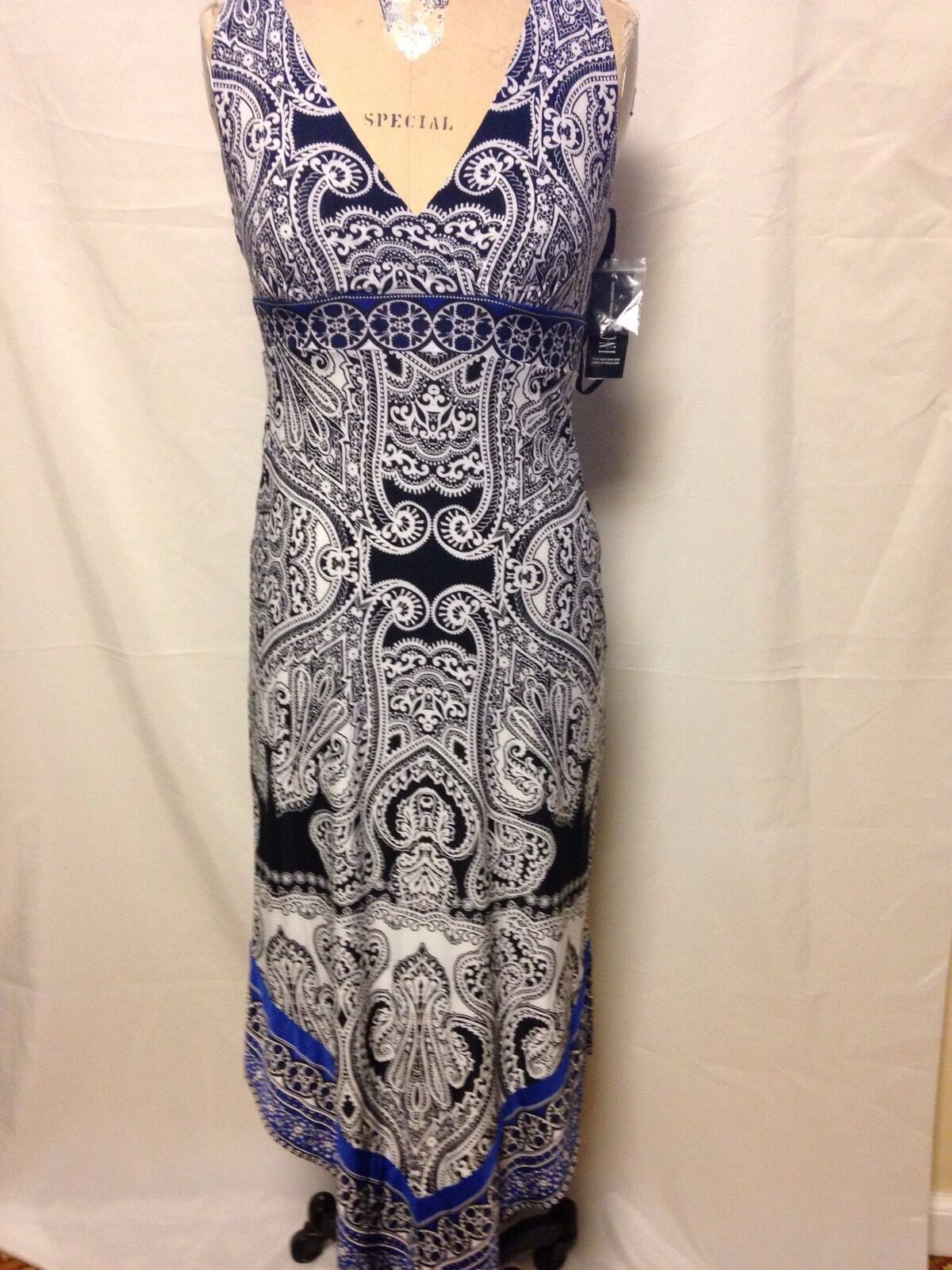 Inc International Concept Empire Waist Printed Dress XS Ace Paisly 64516M899 NWT
