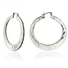 Bling Jewelry Plated Brass Large Hammered Hoop Earrings High Polished 2in Grey